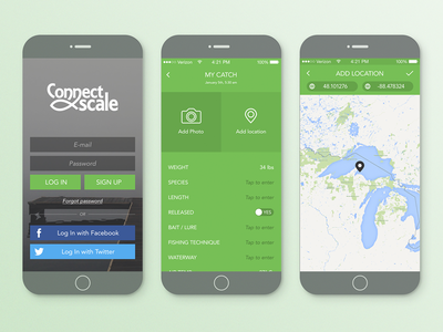 Connect Scale app 2 login ux food action map fish green flat ios ui