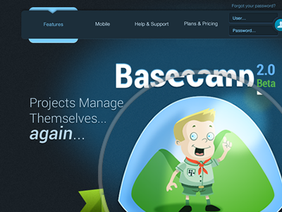 Basecamp2 Contest porposal Shot 1 web interface web design illustration