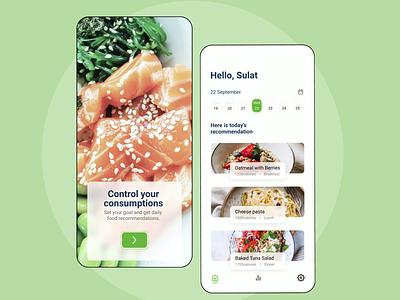 Food Calorie App branding uiux design interface design design app ux ui