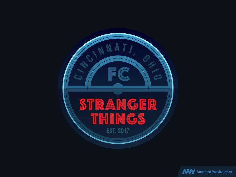 Stranger Things FC akzidenz-grotesk the beautiful game stranger things logo cincinnati typography type design type soccer fútbol football badge