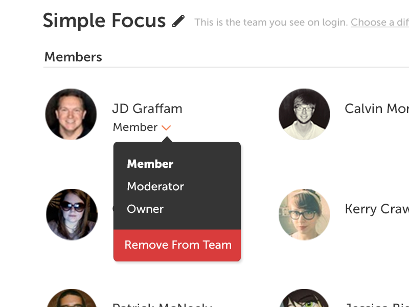 Team Permissions settings preferences permissions team