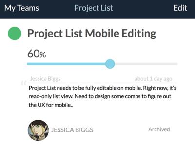 Project List mobile details view mobile details simple project