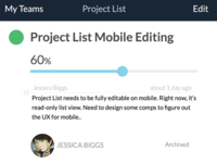 Project List mobile details view