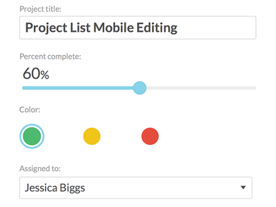 Project List mobile project editing mobile edit form