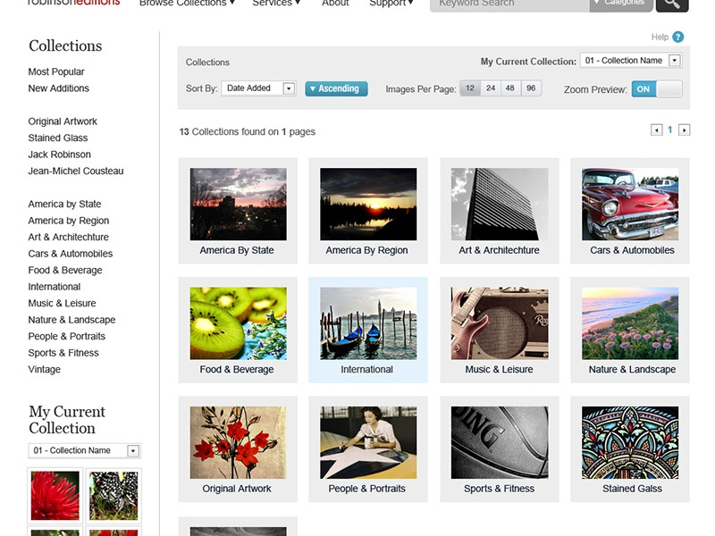 Re Browse Collections ui website search browse