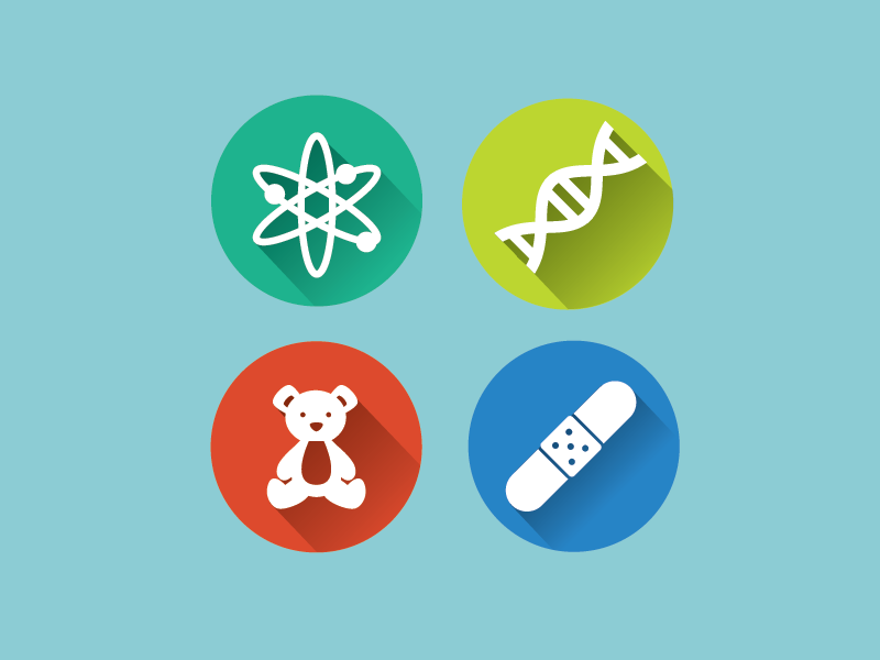 Matte icons flat long shadow icons science