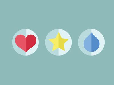 Playful flat icons flat raindrop star heart icons