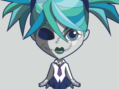 The Little Zombie Girl zombie cute vector character illustration