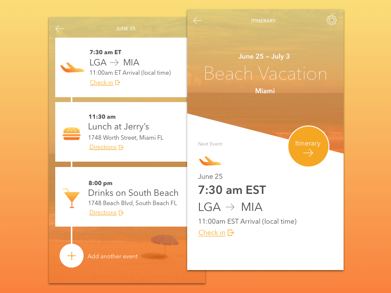 Itinerary App Concept typography interface ux events itinerary flat app mobile ui