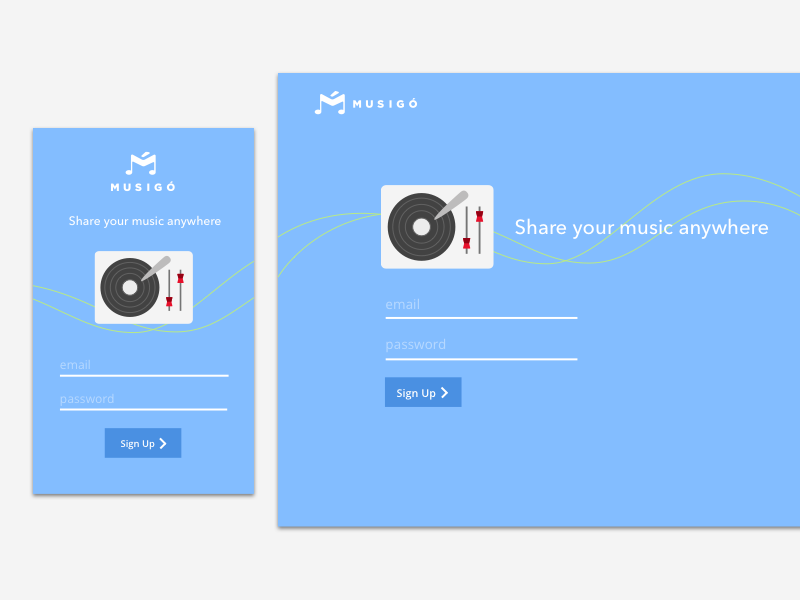 Musigo login sign up flat music app mobile ui