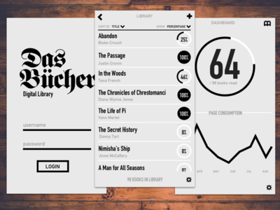 Das Bücher black  white blackletter monochrome flat app mobile ui