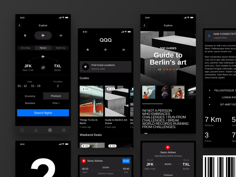 Travel App Concept application journey search engine travel agency ui ux concept user experience design dark theme mobile design trip ui design travel app airlines travel booking