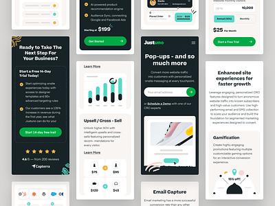 Justuno - Responsive mobile design responsive mobile design saas design platform interface visual identity b2b typography layout asset management product design