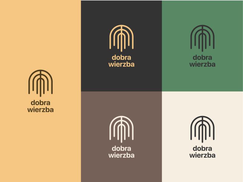 Dobra Wierzba logo line design lines symmetry colors logo design flat icon branding vector typography logo design simple minimal