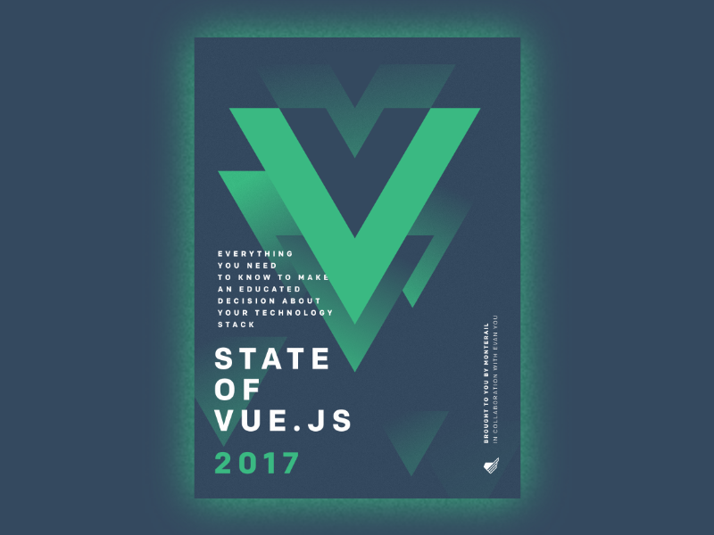 State of Vue.js report cover editorial print report book vue.js vue monterail minimal marketing illustration cover