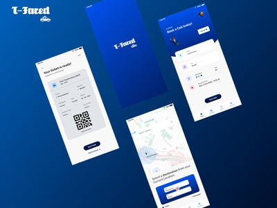 T-Fared (Cab Booking Application) ux minimal design ui adobexd