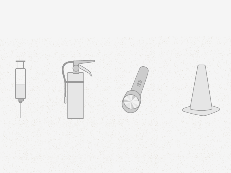 icons: safely now icons syringe flashlight traffic cone fire extinguisher grey outline flat