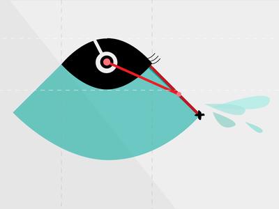 Swipe eye swipe wiper tear lashes flat illustration
