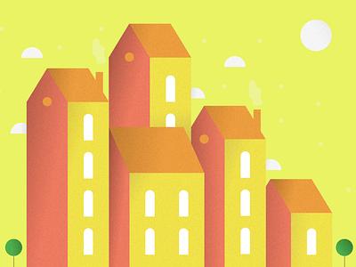 Town Illustration #9 houses minimal design design flatdesign illustrations cityscape art illustration flat illustration minimalist vector minimal flat city illustration landscape wallpaper building town city build