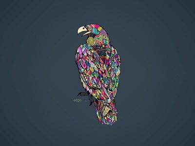 eagle natgeo animal hand digital color draw