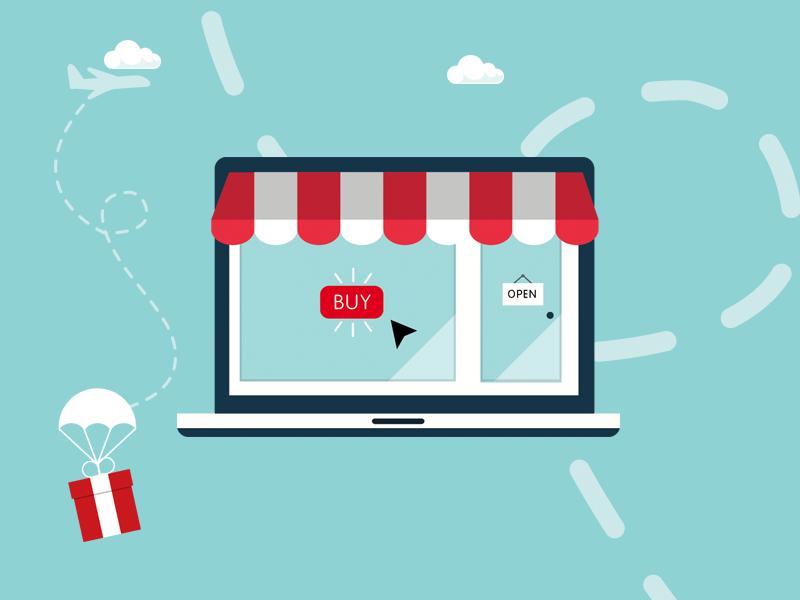 Drop Shipping & eCommerce online gift ecommerce shop flat illustration