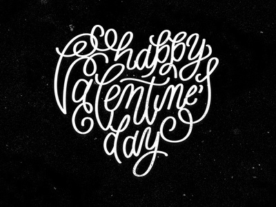 Happy Valentines Day heart lettering valentines