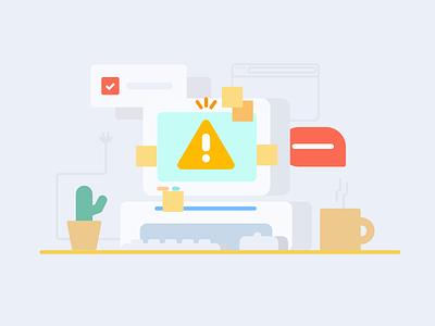 Blowing up yo' screens 💻💥 cactus warning computer crash meltdown illustration pollpass