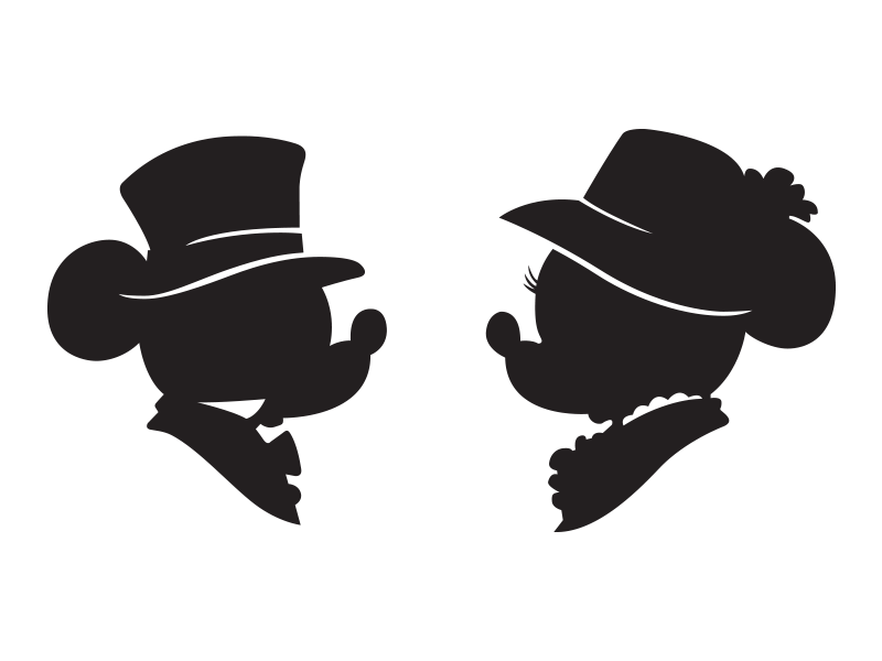 mickey and minnie silhouette by matt witmer dribbble dribbble