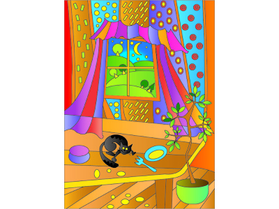 abstraction cat in the room vector design illustration