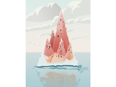 watermelon mountain vector design illustration