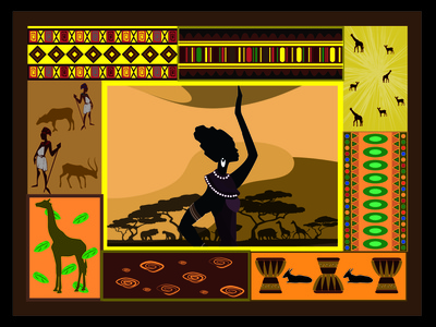 carpet in african style style africa carpet woman capture illustration vector design