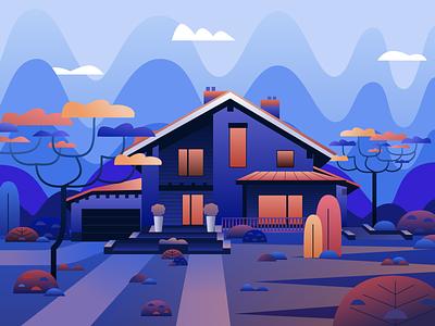 Illustration House clearing orange blue illustrator house