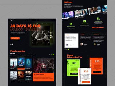 Lending page subscription bleack gren maximalism brutalism web design orandg service streaming movies lending page