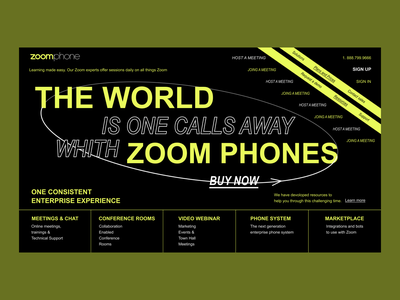 Design Zoom phones font composition green black world phones zoom