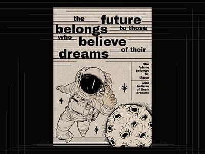 Poster space black dreams believe belongs future old paper vintage planet cosmonaut illustration poster