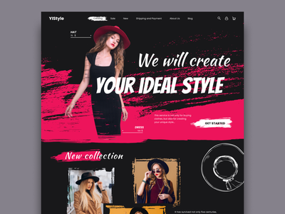 Your ideal style black pink hat dresses smears grunge texture style web design