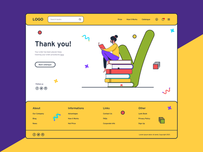 Thank you page yellow bookstore book web design ui thank you page