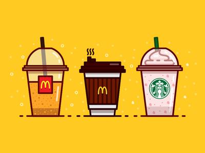 Drinks Combination iconography vicky line outline illustration icon drinks starbucks strawberry mcdonald orange coffee