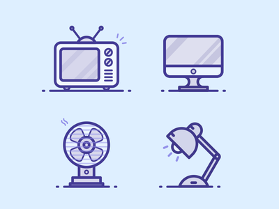 Electrics Combination electric fan television table lamp vicky outline line illustration iconography computer household appliances electric