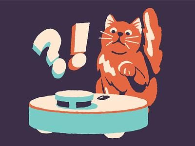Cat vs technology technology vacuum cleaner cat icons8 vector art illustration digital art