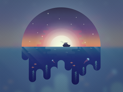 More than meets the eye sun sunset illustration illustrator seaweed fish jellyfish gradient vector boat ocean sea