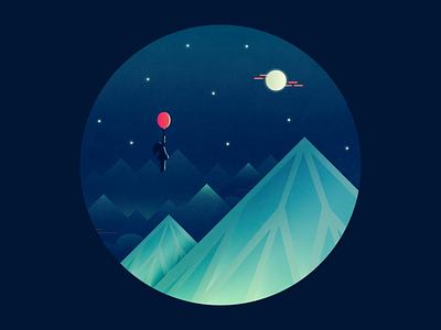 Lucy mountains mountain moon illustration vector movie tribute beatles balloon sky diamond lucy