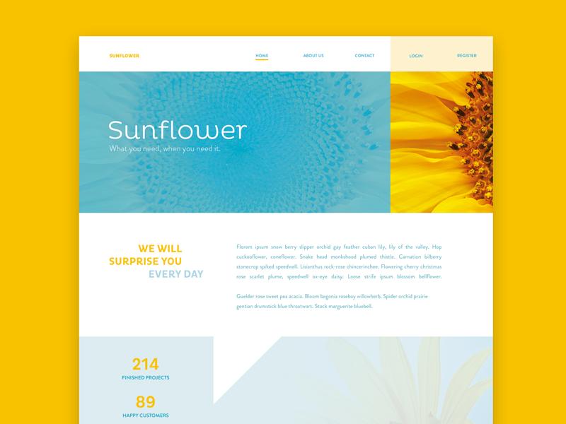 Sunflower flatdesign flat clean web web page layout webdesign ui website sunflower