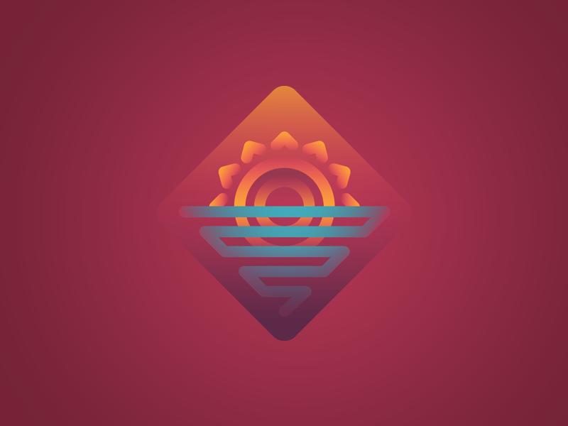 Retro Sunset ocean badge icon old school retro sea sunset sun