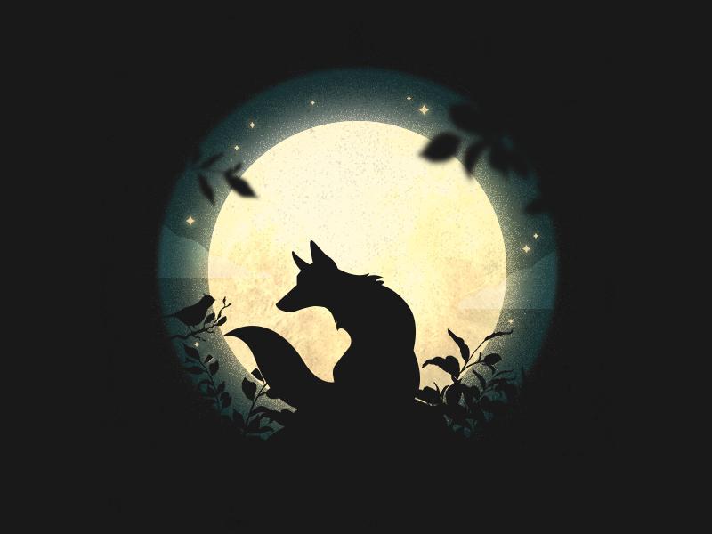 Blackbird singing in the dead of night sky beatles blackbird stars moon silhouette night fox