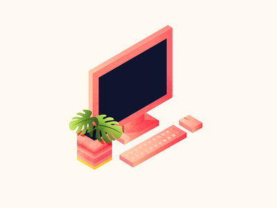 Pink is the word. isometric gradient texture office desk plant vector mouse keyboard mac screen