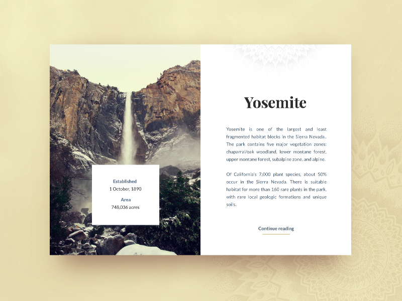 Yosemite card illustration mandala yosemite usa typography ui