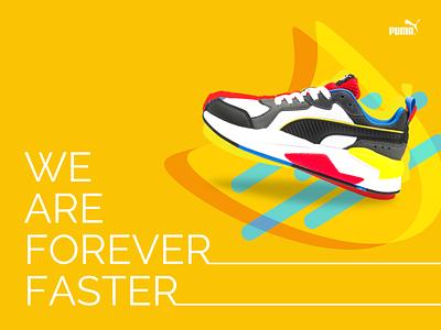 PUMA poster shoes yellow colors marketing design typography ui branding puma