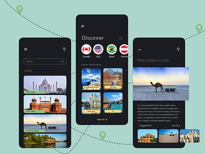 Desto places discover dark theme dark ui destination travel app ux app ui design