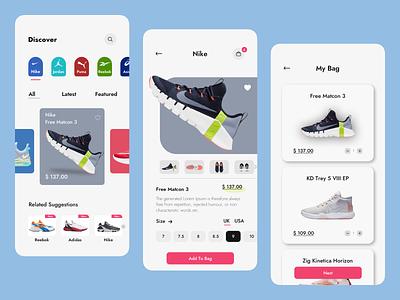 Brand Shoes Studio shopping puma asics jordan adidas reebok nike shoes app shoes ecommerce colors color branding ux app ui design